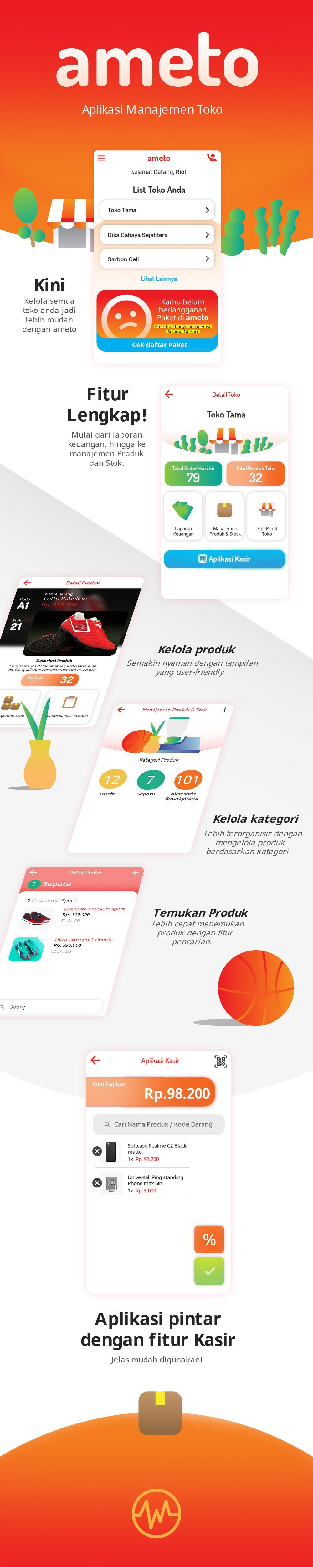 Mobile App Design Ameto Manager App Aplikasi Produk Laporan Keuangan