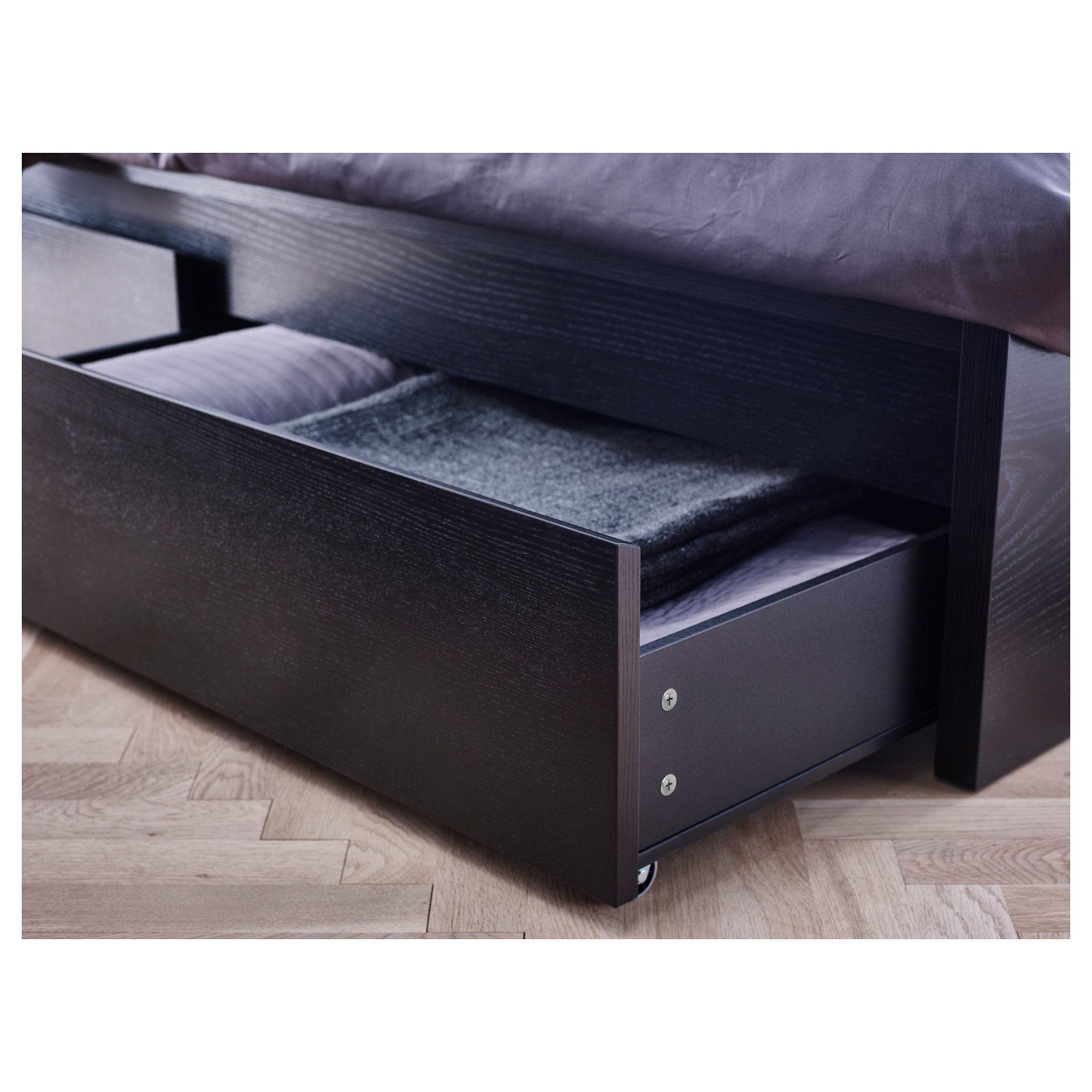 Malm Bed Frame High W 2 Storage Boxes Black Brown 160x200 Cm Ikea Em 2020 Armazenamento De Cama Estrado De Cama Caixas De Armazenamento