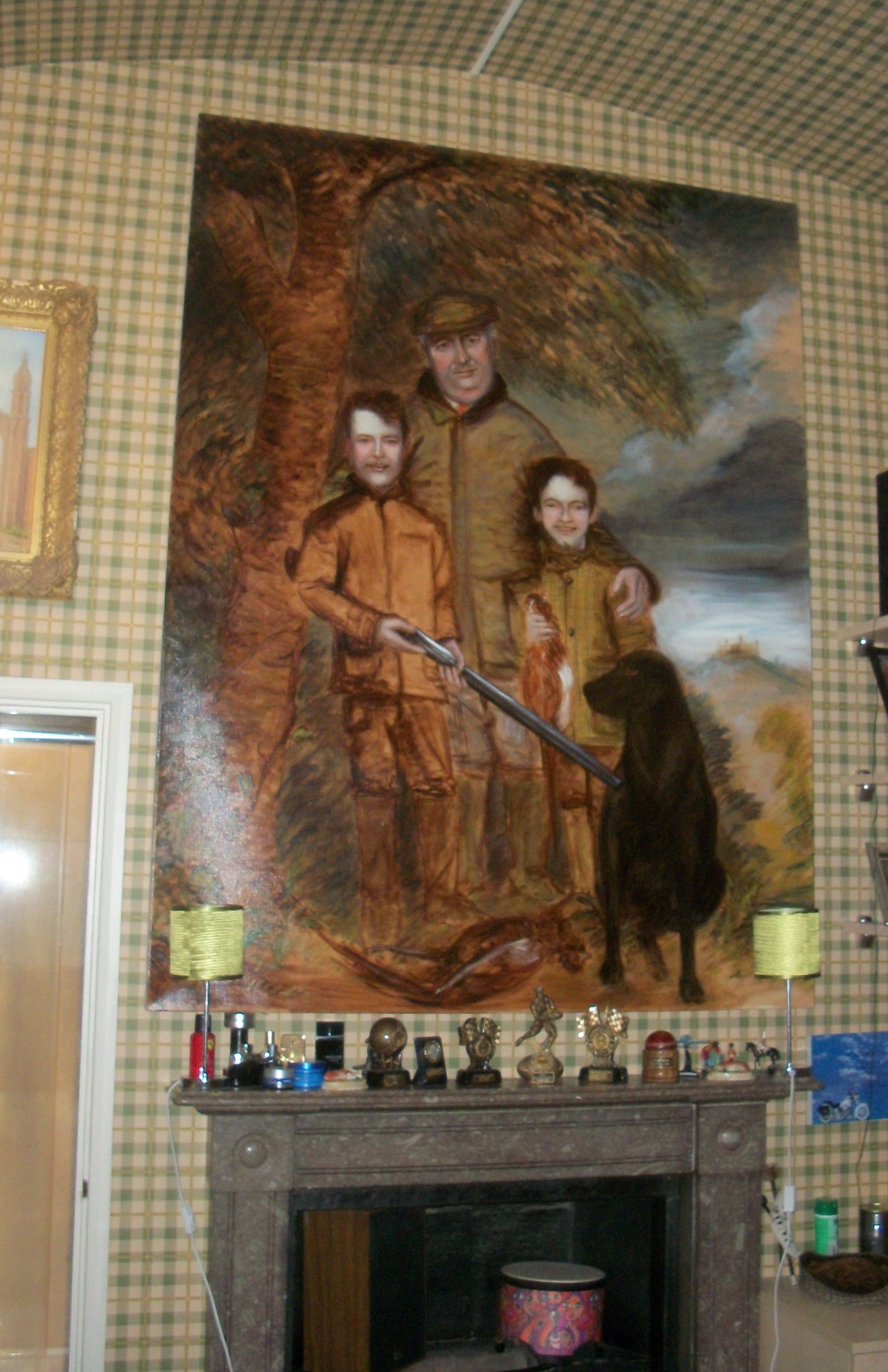 My painting of the Duke of Rutland with his Sons, hanging at Belvoir Castle