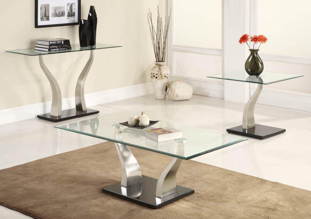 Atkins Chrome Metal Glass Sofa Table Modern Glass Coffee Table
