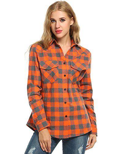 Womens Long Sleeve Roll Up Cotton Check Shirt Cotton Summer