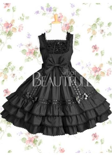 Square Empire Short  Lace Bow  Cotton Gothic Lolita Dress With Tiers