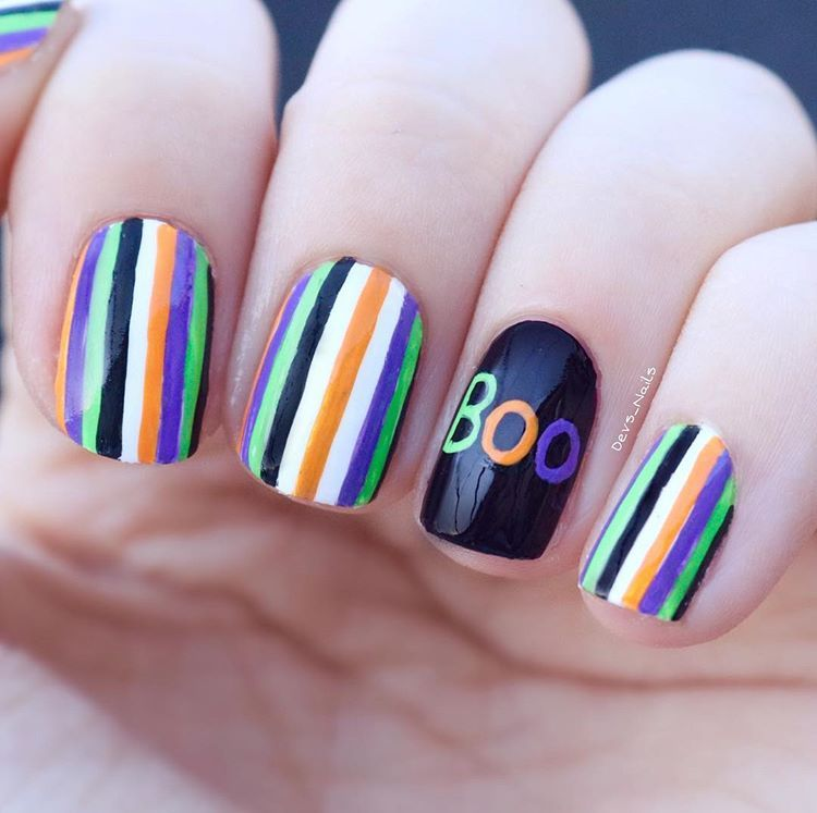 """BOO!"" 👻 My halloween stripes nail art. 💜 check out my ..."