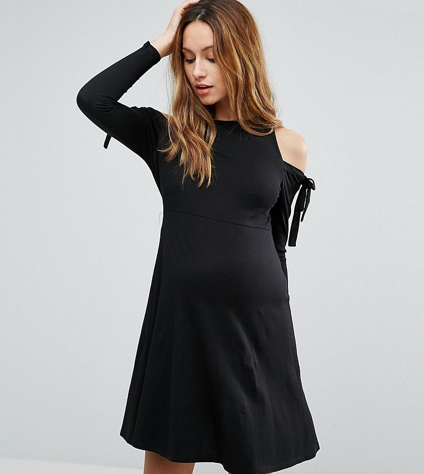 Asos maternity cold shoulder long sleeve dress with tie detail discover the latest maternity dresses at asos shop for maternity maxi dresses pregnancy dresses and special occasion maternity dresses online with asos ombrellifo Images