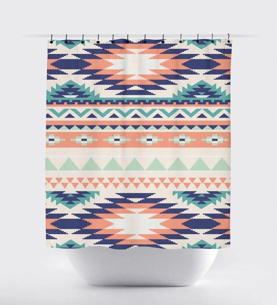 Coral And Turquoise Aztec Shower Curtain High Quality Fabric