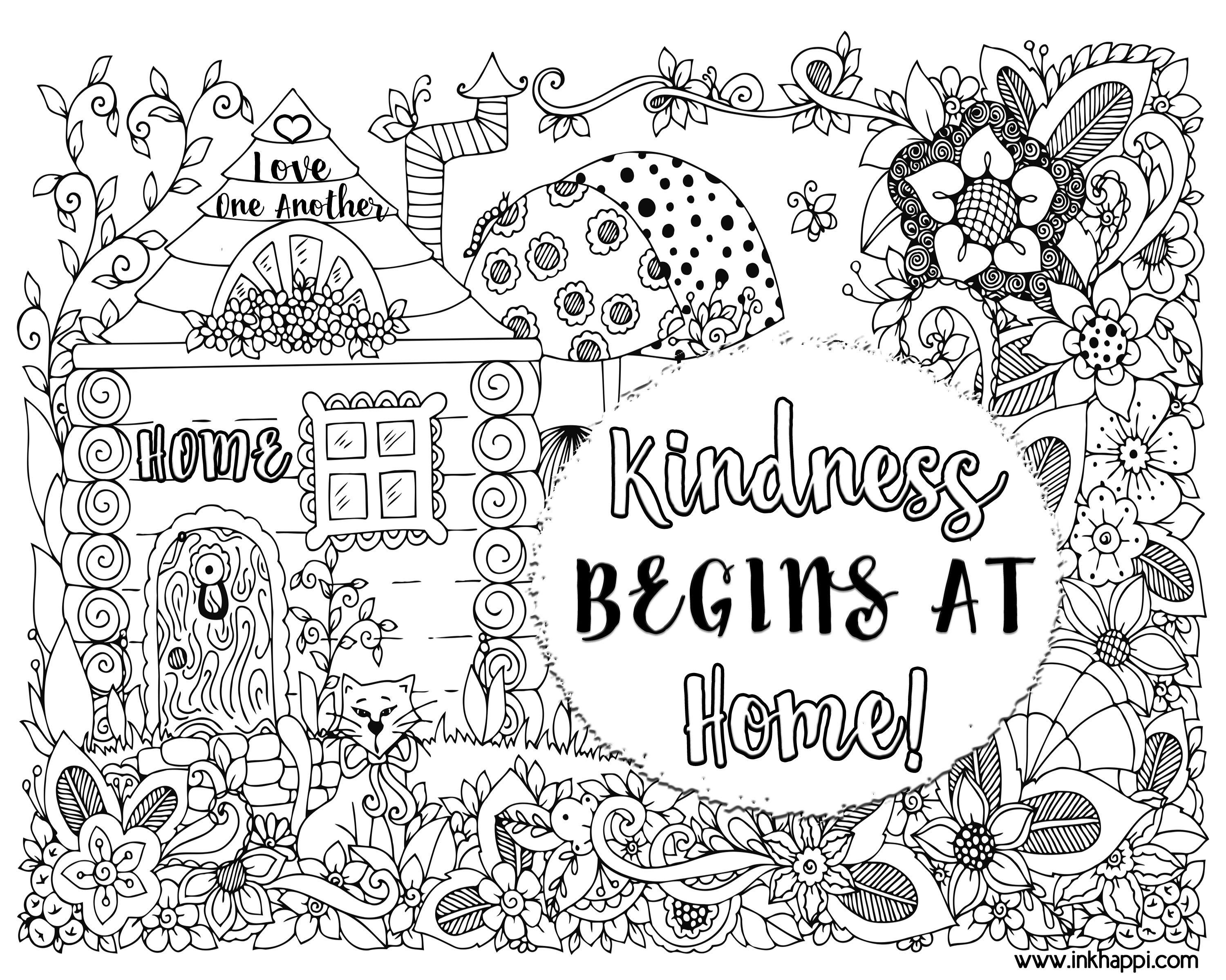 Kindness Begins At Home A Coloring Page And A Message Bunny