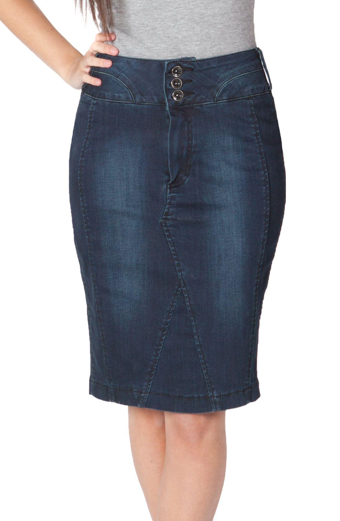 4dfac4f2d2 Gorgeous dark indigo knee-length denim pencil skirt. This stylish # denimskirt is available in UK sizes 6 - 12. #denimfashion #jeanskirt