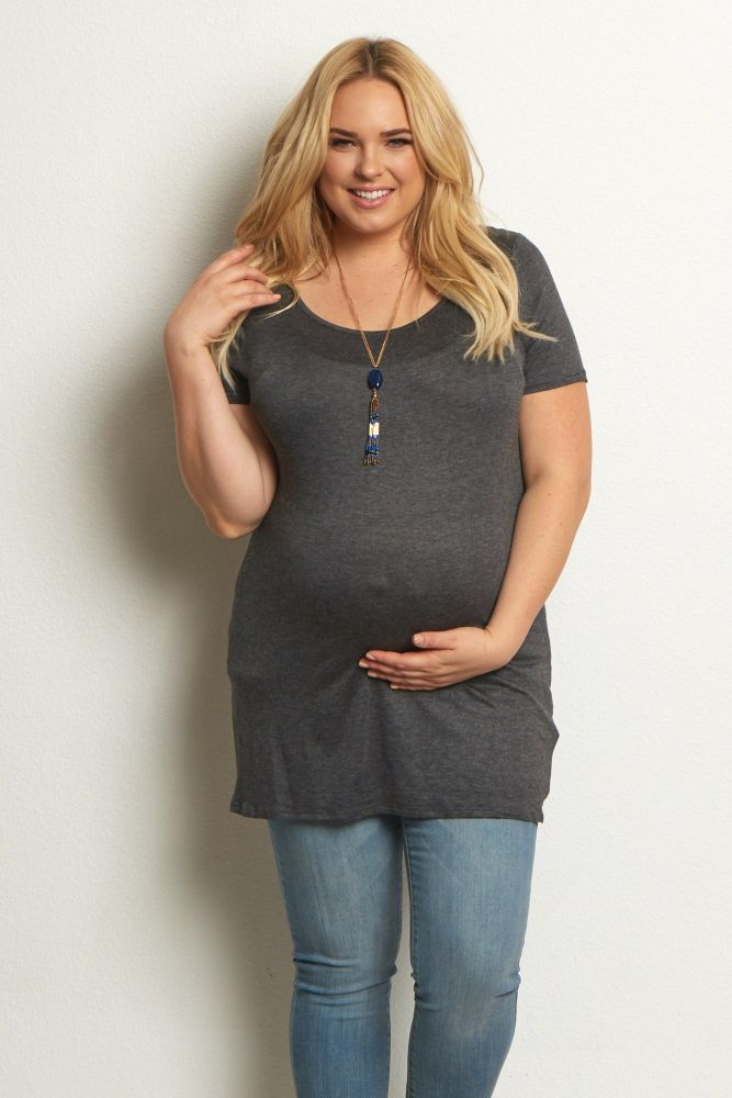 98e1066b891ad A solid short sleeve plus maternity top for a comfortable everyday wear.  From business to casual to fitness, you can bring this tee along for it all.