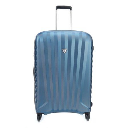 7ac1845b9c37a ŚREDNIA WALIZKA RONCATO NIEBIESKA UNO ZIP 70 LITRÓW Wytrzymała walizka  powstała z poliwęglanu. Włoska jakość