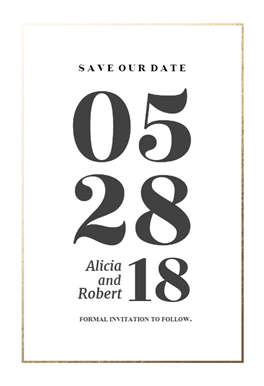Elegant Big Numbers Save The Date Card Template Free Greetings Island Save The Date Invitations Save The Date Cards Save The Date Templates