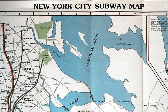 Vintage NYC Subway Map   New York City   1986 Subway Map | Vintage
