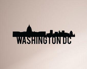 24 Inch Washington Dc City Skyline Vinyl Wall Decal Promo