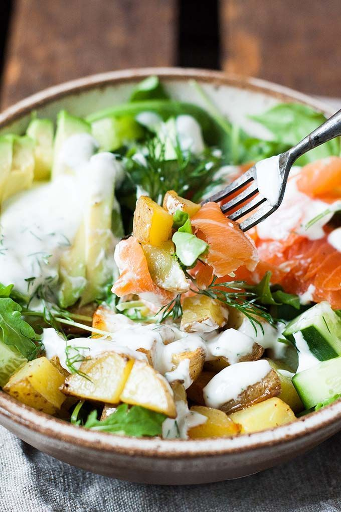 Kartoffel Lachs Power Bowl mit Avocado - Kochkarussell #recipesforshrimp