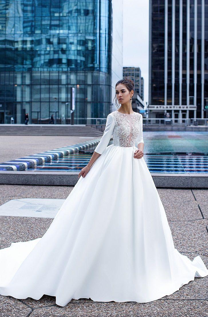 Three-quarter length cuffless sleeves elegant ball gown wedding dress with pocket #weddingdresses #bride #wedding #weddingdress #weddinggown