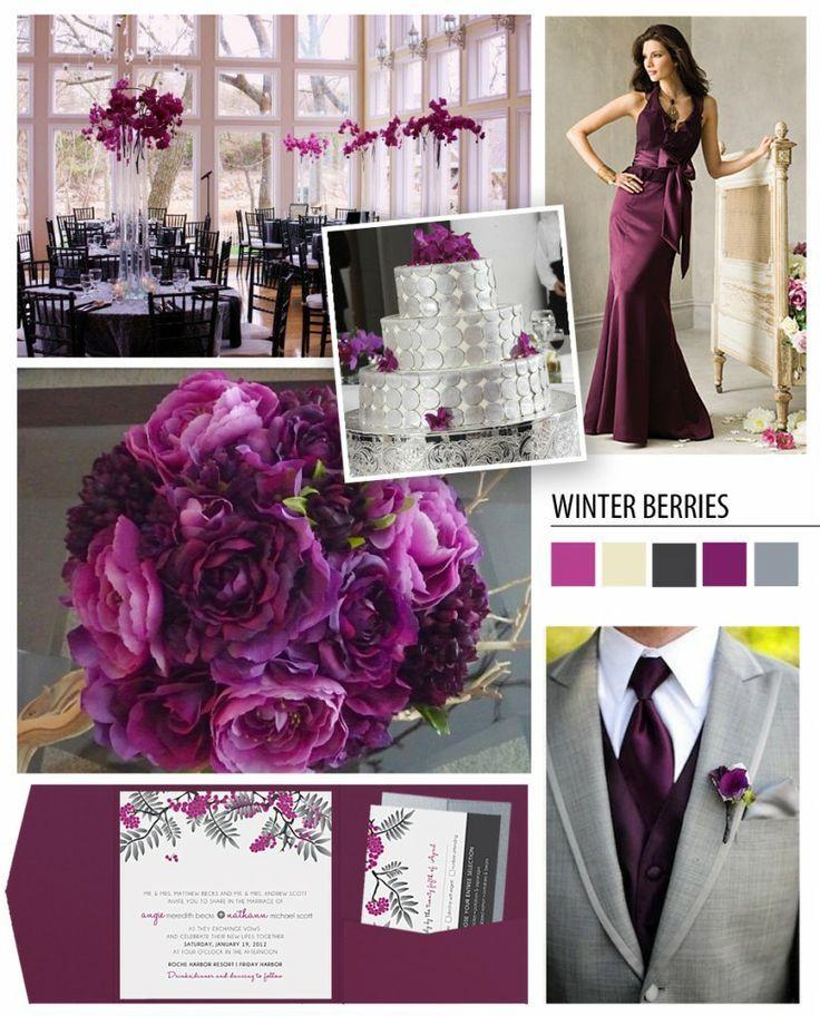 plum and gray wedding greyplum color theme flowers
