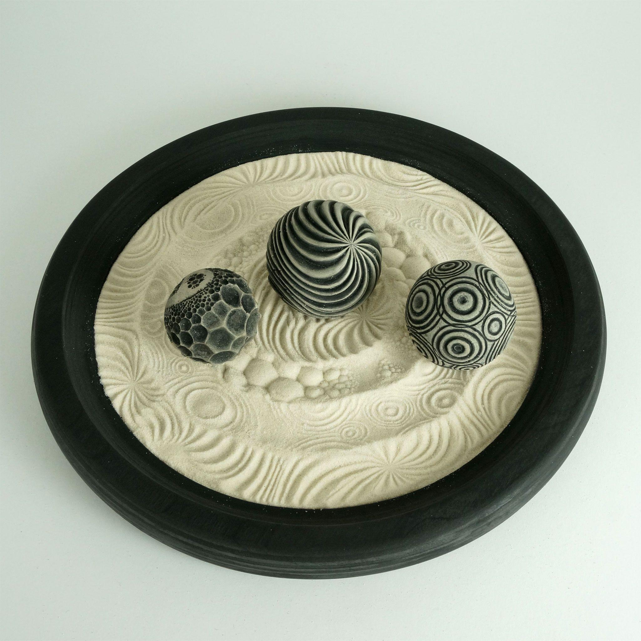 Monochrome Round Desktop Zen Garden | Nature Package #zengardens