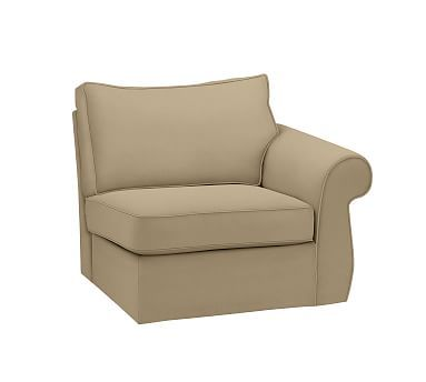 Pearce Slipcovered Right Arm Chair, Down Blend Wrapped Cushions, Performance Everydaysuede(TM) Light Wheat