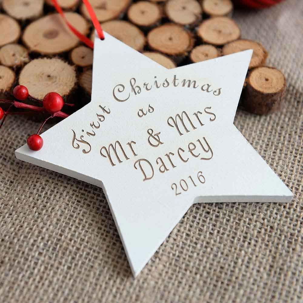 a unique gift idea for the newly weds this personalised first christmas as mr mrs personalised hanging star makes a really thoughtful gift
