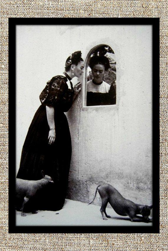 Frida Kahlo photograph, Frida black and white photo print, Kahlo ...