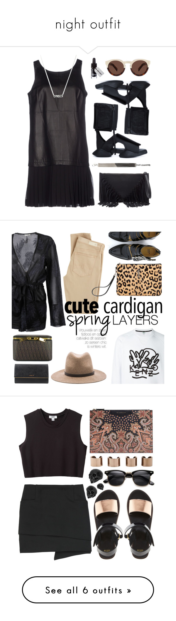 """""""night outfit"""" by amanda-uccellini ❤ liked on Polyvore featuring Elizabeth and James, Rick Owens, Iosselliani, Illesteva, Sole Society, contestentry, styleinsider, PVStyleInsiderContest, Dries Van Noten and AG Adriano Goldschmied"""