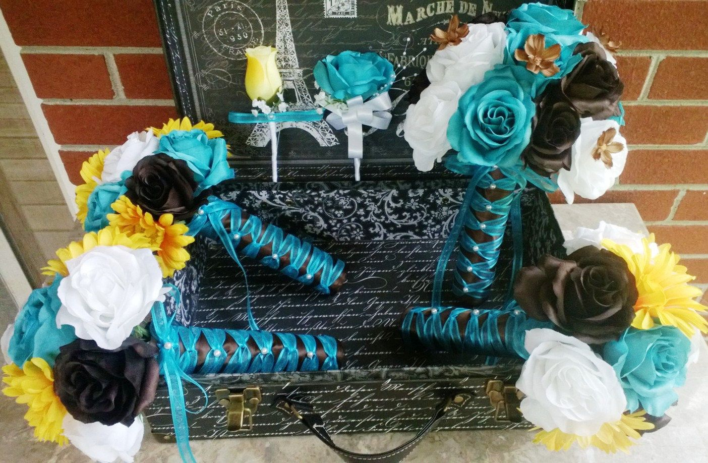 db8725d640 17 Piece Turquoise Malibu Blue Yellow Brown White Wedding Bouquet ...