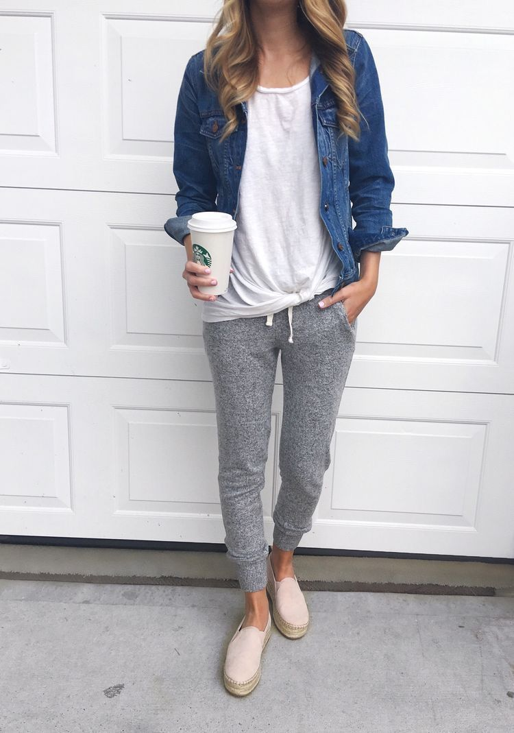 Athleisure Denim Jacket T Shirt Joggers Sneakers Athleisure Outfits Popular Fall Outfits Casual Outfits [ 1069 x 750 Pixel ]