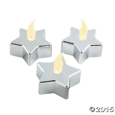 Silver Star-Shaped Battery-Operated LED Tealights