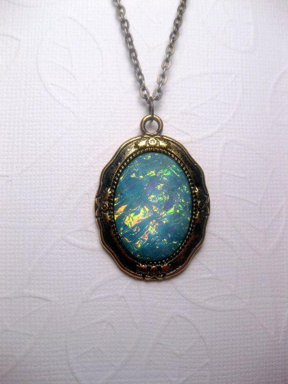Galaxy turquoise pendant necklace rainbow opal mood stone galaxy turquoise pendant necklace rainbow by fashioncrashjewelry aloadofball Images