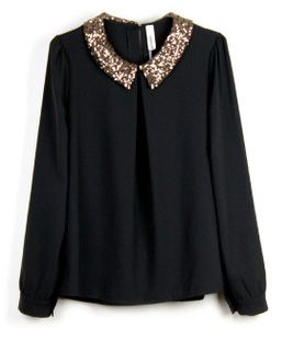 Black Chiffon Blouse With An Embellished Collar Very Cute Taste
