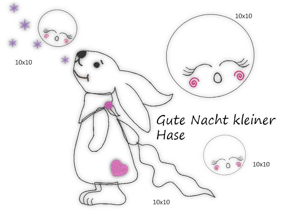 4 X Stickdatei Embroidery Doodle Mond Schlaf Gut Kleiner Hase 10x10