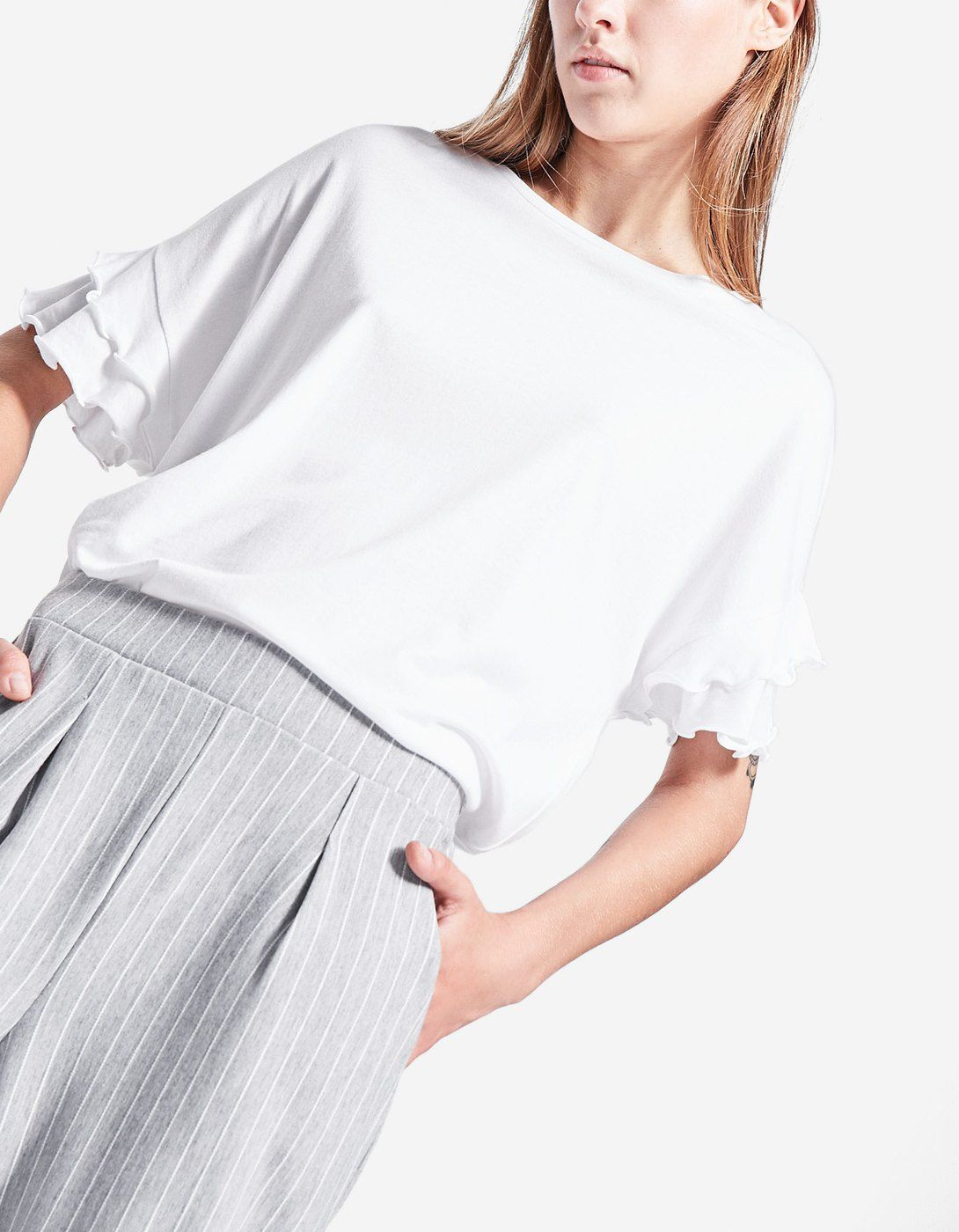 Top with sleeve frill detail T shirts | Stradivarius