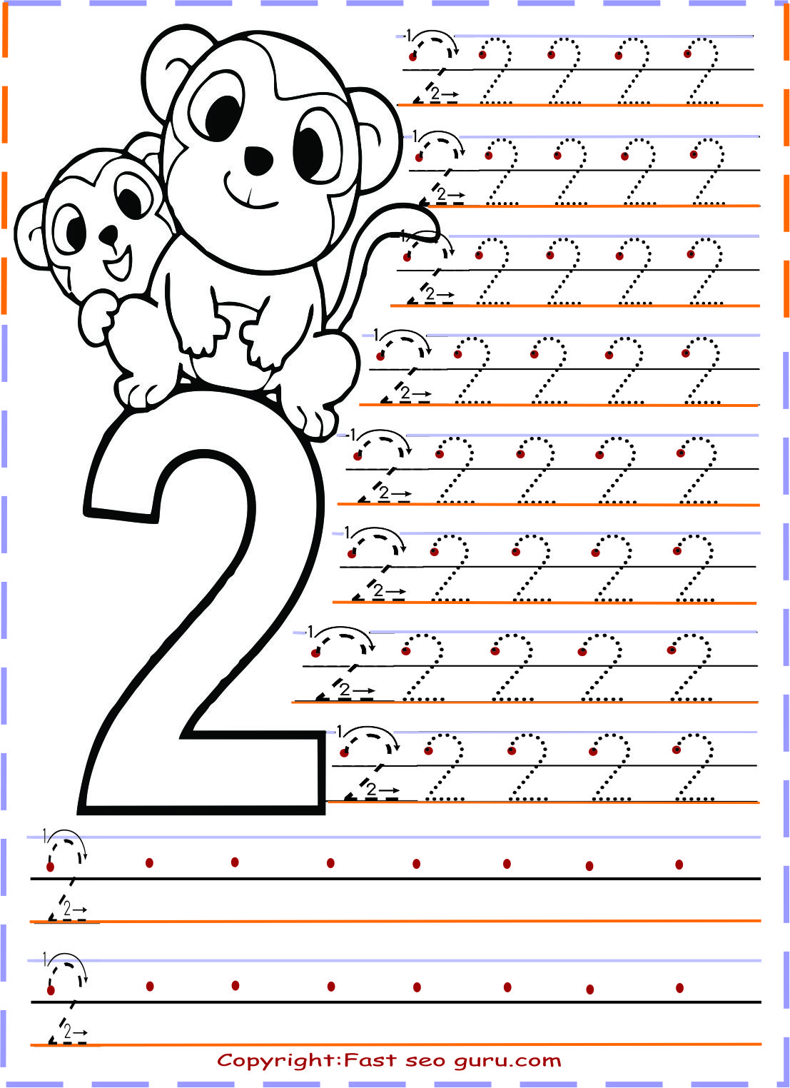 Printables Numbers Tracing Worksheets 2 For Kindergarten