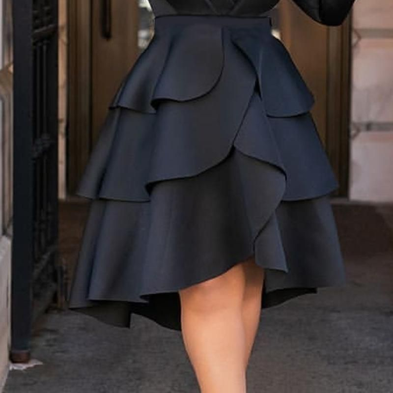 Pleated Cake Layer A-line skirt