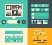 ui : Moderne Wohnung, Design, Illustration Icons von Schaltflächen, Formulare, Registerkarten, Schieber und andere Navigations-Elemente für ...
