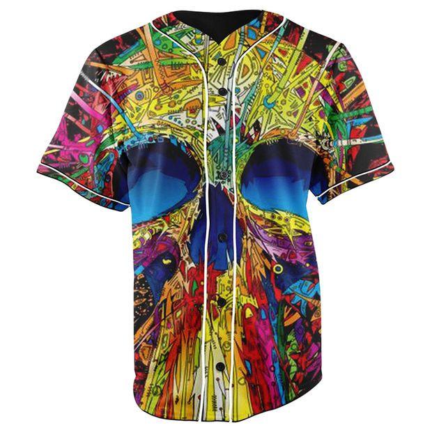 Skull Life Button Up Baseball Jersey
