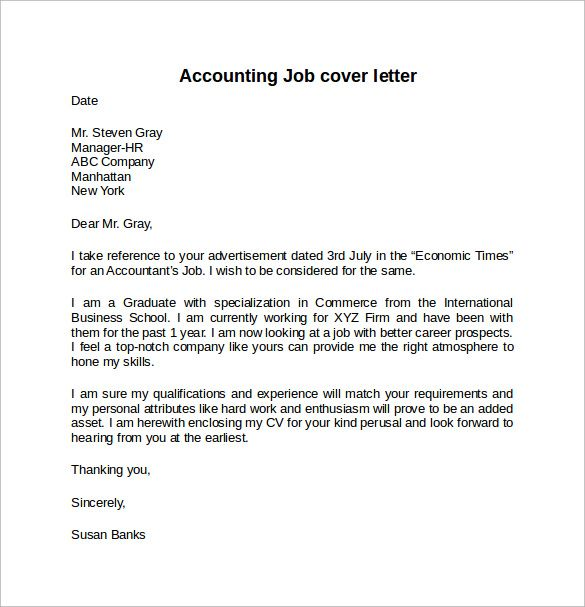 Accounting Internship Cover Letter Cover Letter Example For Job Download Free Documents Word
