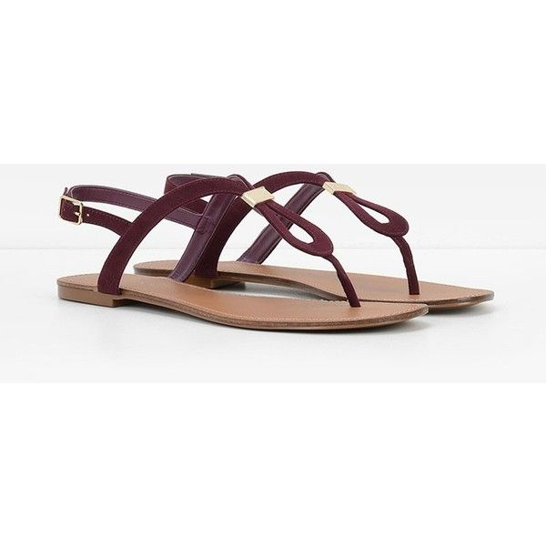 CHARLES & KEITH Gold Detail Thongs ($49) ❤ liked on Polyvore featuring shoes ,