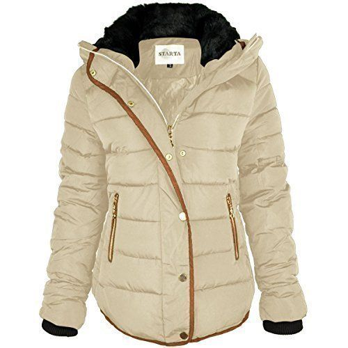 2f4c73decde december 2016 5 fashion thirsty womens ladies quilted winter coat puffer fur  collar hooded jacket parka size new uk 10 beige cream