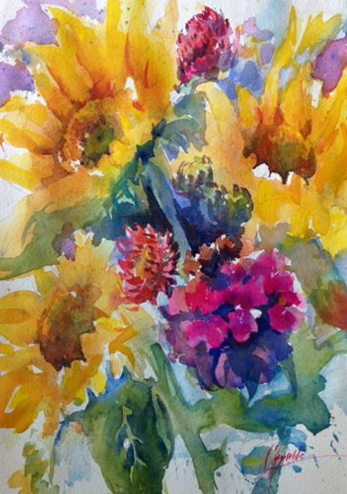 """Sun and Violet"" watercolor, plein air, by Colleen Reynolds"