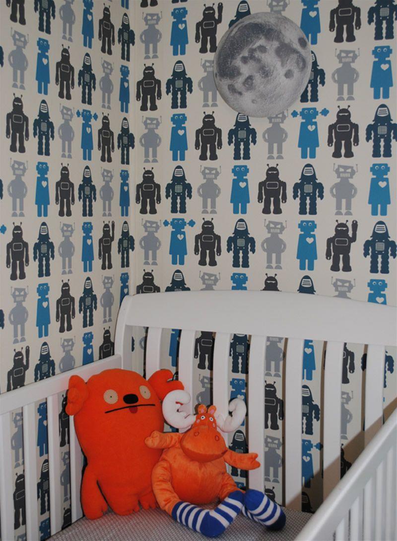 kid wallpaper usa mylar. NO.asb1037 ,Contemporary Robots-Blue Wallpaper For Kids Room Design Ideas By Aimee Wilder Kid Usa Mylar L