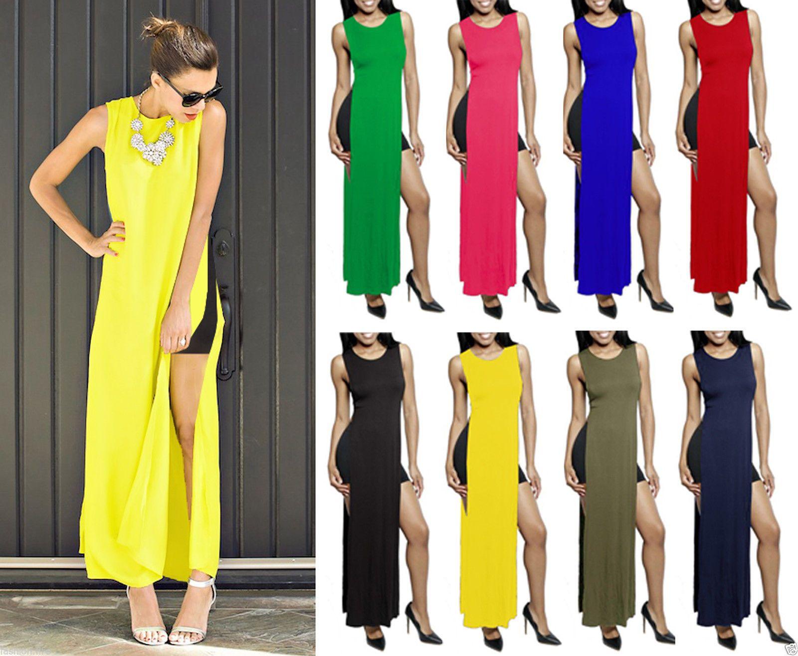 Ladies Womens Celeb Inspired Double Side Slits Split Long T Shirt Maxi Dress Maxi Shirt Dress Maxi Dress Dresses [ 1316 x 1600 Pixel ]