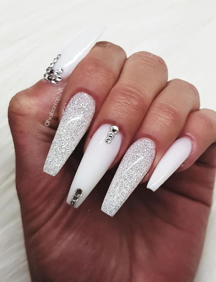 60 Bling Acrylic Coffin Nails Design With Rhinestones Nails Design With Rhinestones White Acrylic Nails Rhinestone Nails