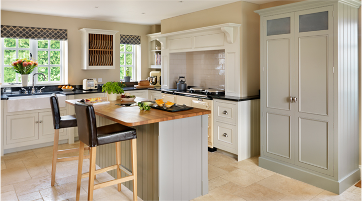 harvey jones original kitchen handpainted in farrow ball 39 shaded white 39 and 39 pigeon 39 www. Black Bedroom Furniture Sets. Home Design Ideas