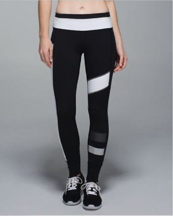 9ed9e629af LULULEMON Speed Tight II SE Black White Reflective Leggings Sz 6 Mint  Condition!