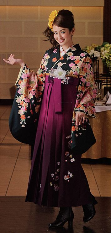 Japan Hakama Girls kimono by Kyoto Sagano-Kan. Hakama Rental Collection Catalog Book.