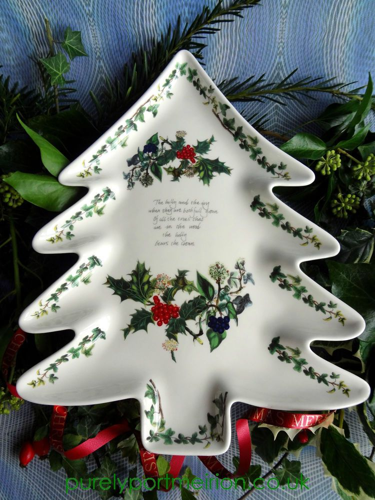 Portmeirion Christmas Tree Shaped Plate In Holly And Ivy Design H