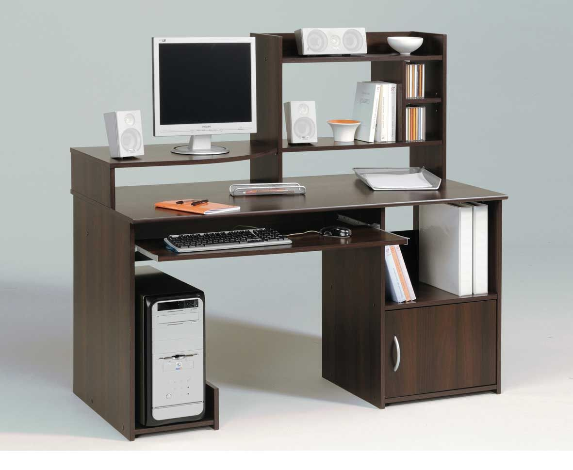 Modern Walnut Polish Computer In Desk Computer Desks For Home