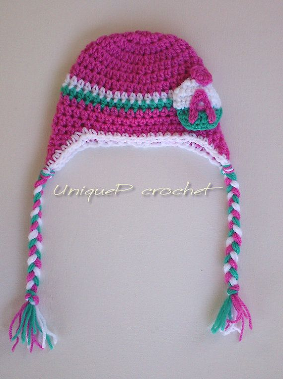 Personalized Crochet Earflap Hat for Babies and by UniquePcrochet ...