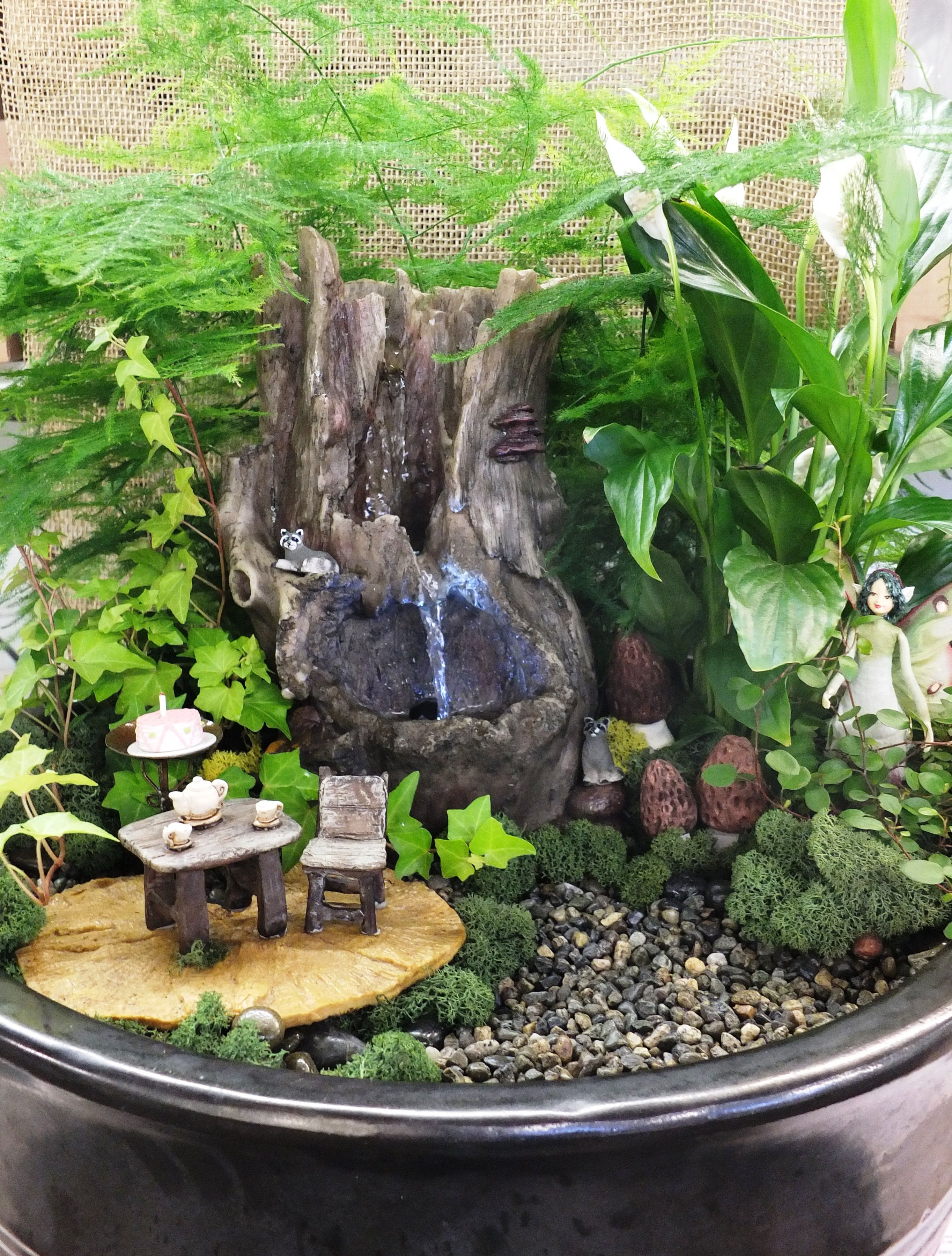 fairy garden with fountain from wights