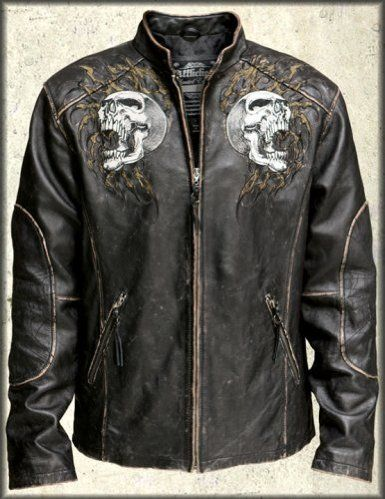 72db2873c Affliction Shredded Chained Skulls Leather Jacket in Black - LIMITED ...